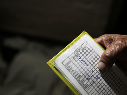 Alba Lara, 71, shows the notepad she uses to keep track of how much food she has left, in her Havana, Cuba, home on Tuesday.