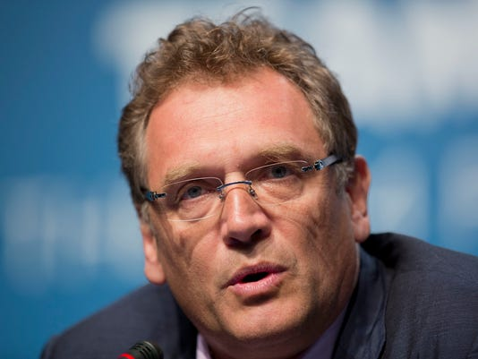FILE - In this file photo dated Feb. 18, 2014, Former FIFA Secretary General Jerome Valcke speaks during a news conference for the 2014 World Cup in Florianopolis, Brazil. Former FIFA official Jerome Valcke has appealed to the Court of Arbitration for Sport to overturn his 10-year ban from soccer for unethical conduct. The court outlined a procedural timetable Tuesday that should take several months to reach a verdict. (AP Photo/Andre Penner, File)