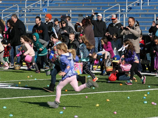 The Clawson egg hunt lasts just three minutes.That's all it takes for 400 kids to gobble up 4,000 eggs.