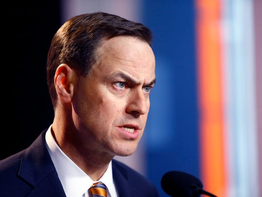 University of Tennessee Athletic Director, John Currie speaks during a press conference announcing the firing of head football coach, Butch Jones, Sunday, Nov. 12, 2017, in Knoxville, Tenn. (Wade Payne/Knoxville News Sentinel via AP)