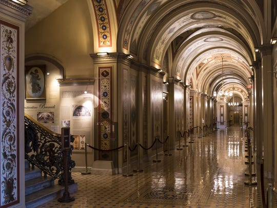 An ornate corridor in the Senate is empty on the first day of a government shutdown after a divided Senate rejected a funding measure, at the Capitol in Washington, Saturday, Jan. 20, 2018. (AP Photo/J. Scott Applewhite)