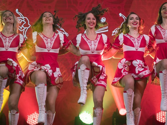Russian cheerleaders perform during the opening of the Sports House, set up to support the Russian delegation of the 2018 Winter Olympics, in Gangneung, South Korea, Friday, Feb. 9, 2018. (AP Photo/Felipe Dana)