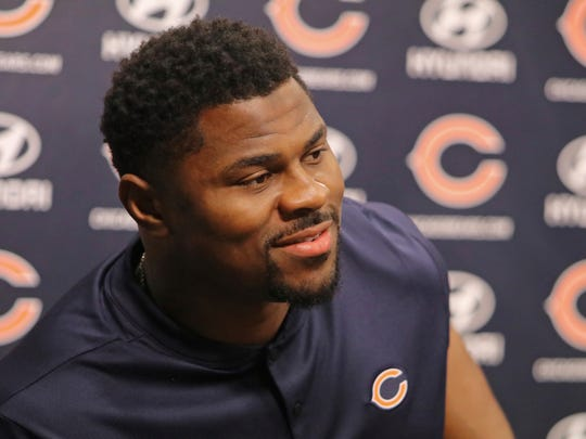 Newly acquired Chicago Bears player Khalil Mack speaks with the media during an NFL football news conference Sunday, Sept. 2, 2018, at Halas Hall in Lake Forest, Ill. (Tim Boyle/Chicago Sun-Times via AP)