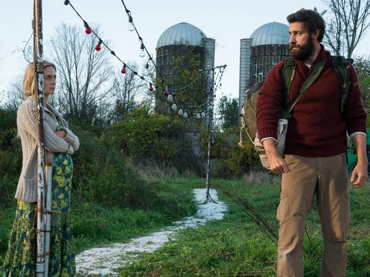 "Emily Blunt (left) plays Evelyn Abbott and and John Krasinski plays Lee Abbott in ""A Quiet Place"" from Paramount Pictures."