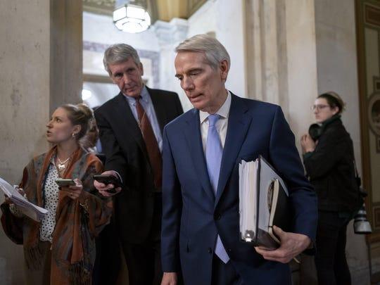Sen. Rob Portman, R-Ohio, departs the Capitol in January.