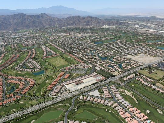 Housing developments and grassy fairways cover an area of south La Quinta.