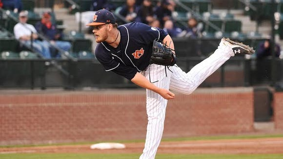 Auburn junior pitcher Gabe Klobosits gets his first career win by finishing the final seven innings of a 9-7 victory over No. 3 Texas A&M on March 19, 2016.