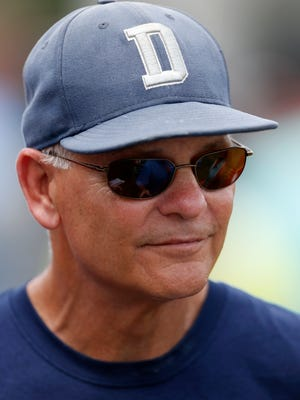 Dallas Cowboys defensive coordinator Rod Marinelli talks with the media June 16, 2015, in Irving, Texas.