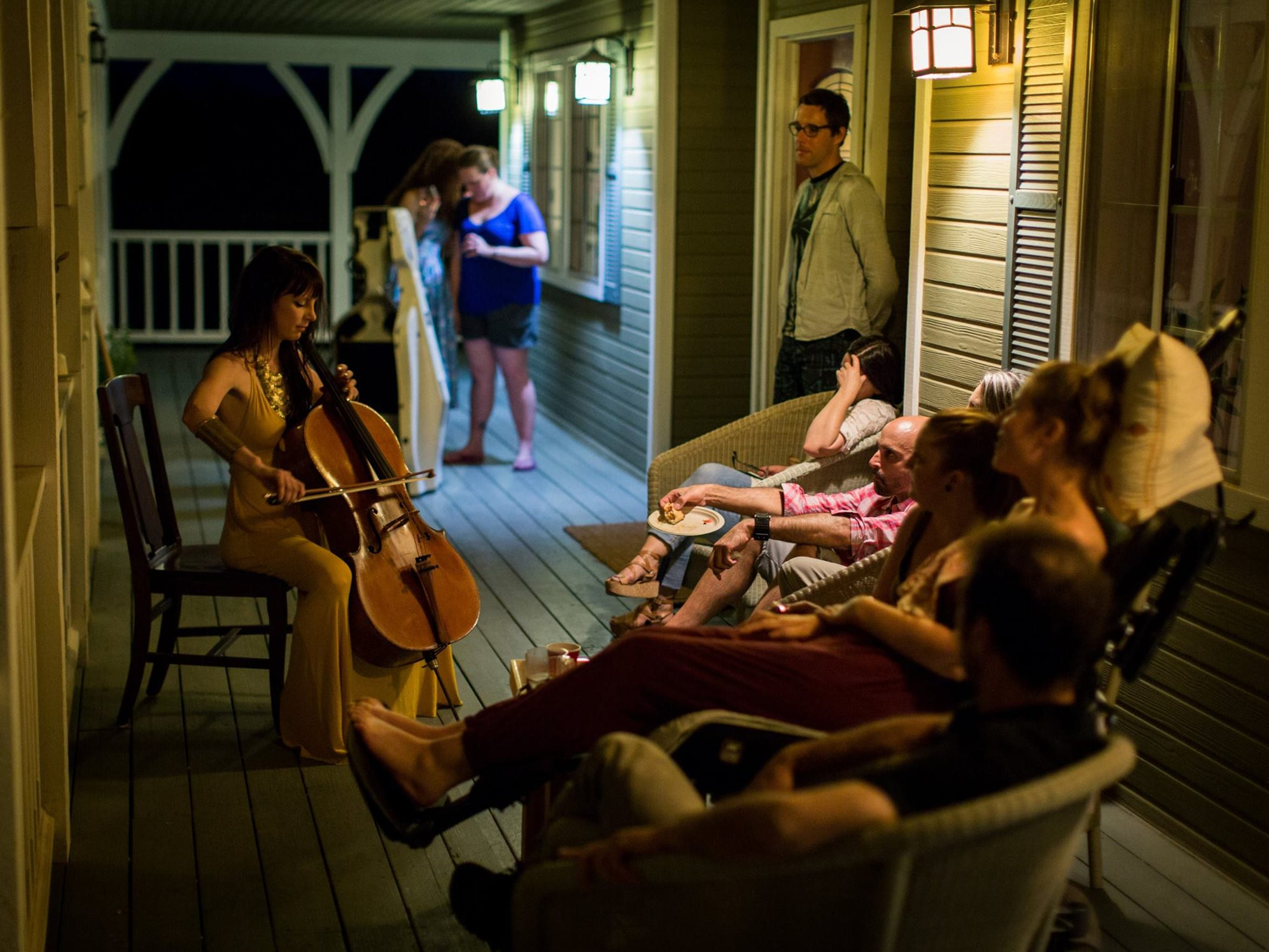 Kestrin Pantera plays the cello for her friend, Betsy Davis, who ended her life on July 24.