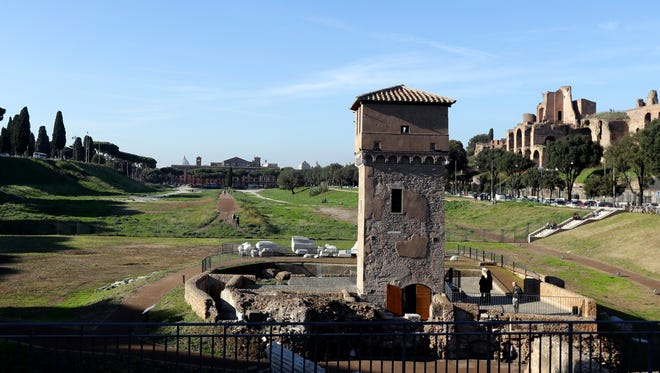 A general view of Circus Maximus' newly opened archaeological site, in Rome, Wednesday, Nov. 16, 2016.