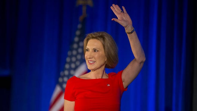 Republican presidential candidate Carly Fiorina speaks at the National Federation of Republican Women Convention in Phoenix on Sept. 7, 2015.