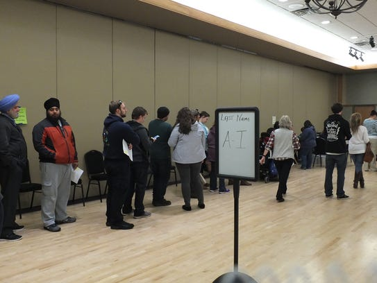 Lines were long in Oak Creek at the District 6 polling
