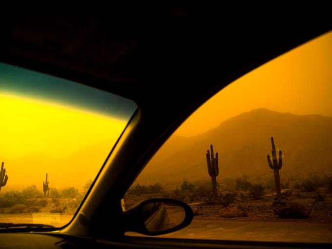 Phoenix Dust Storm passes through South Mountain on