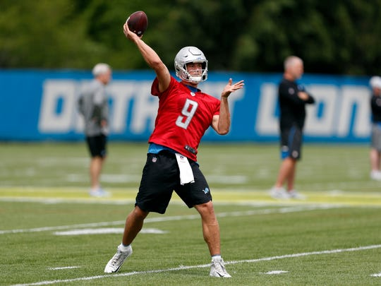 Detroit Lions quarterback Matthew Stafford (9) throws the ball during practice at the Lions Headquarters and Training Facility on Tuesday, June 5, 2018.