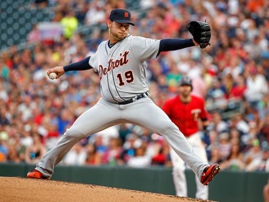 Tigers pitcher Anibal Sanchez throws in the first inning