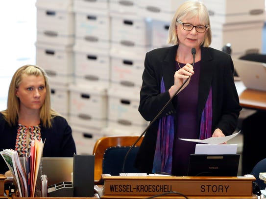 Representative Beth Wessel-Kroeschell speaks on the