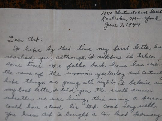 One of the letters to World War II veteran Arthur Schenk that was rescued by Linda Whitney is seen here.