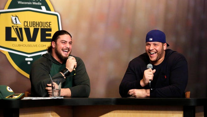 Green Bay Packers left tackle David Bakhtiari (left) co-hosted Clubhouse Live on Monday from The Clubhouse Sports Pub & Grill in Appleton. Guard Lane Taylor was Bakhtiari's guest.