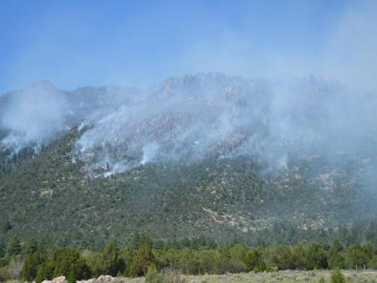 The Saddle Fire 2.5 miles outside Pine Valley grew to 1,234 acres on Sunday.
