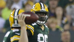 Green Bay Packers tight end Jared Cook (89) looks for
