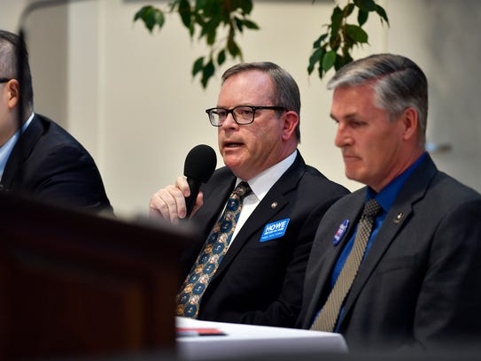 Alan Howe speaks at a candidate forum on April 18, 2018, in York.