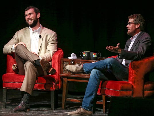 Author John Green and Indianapolis Colt Andrew Luck at the great american read