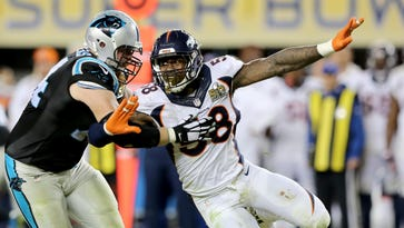 Broncos outside linebacker Von Miller makes an outside rush against the Panthers' Mike Remmers during Super Bowl 50 on Sunday in Santa Clara, Calif. Miller was the game's MVP.