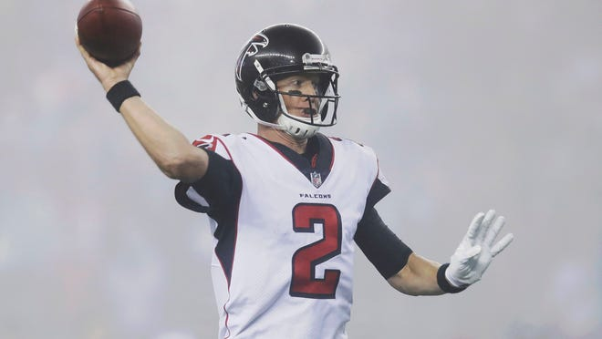 Atlanta Falcons quarterback Matt Ryan passes in the fog during the second half of an NFL football game against the New England Patriots, Sunday, Oct. 22, 2017, in Foxborough, Mass. (AP Photo/Charles Krupa)