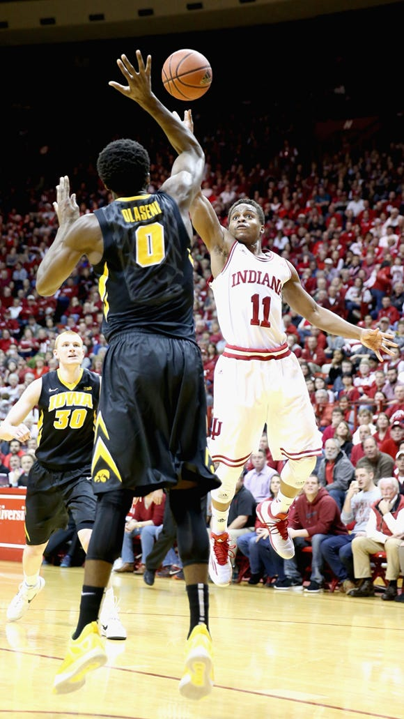 Yogi Ferrell shoots the ball during the game against