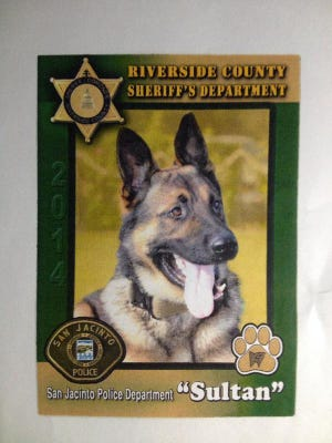 A police K-9 died Wednesday evening trying to stop an armed man, who has now barricaded himself in Hemet.