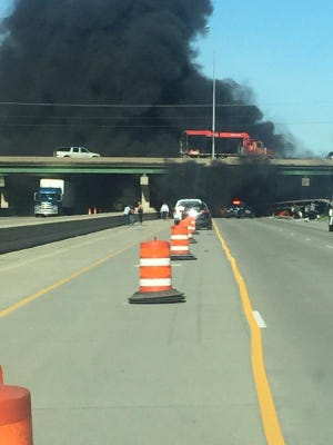 Black smoke is shown after a crash on I-80.