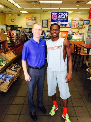 Louisiana Tech coach Eric Konkol and Derric Jean pose for a photo last weekend. Jean was granted his release Thursday.