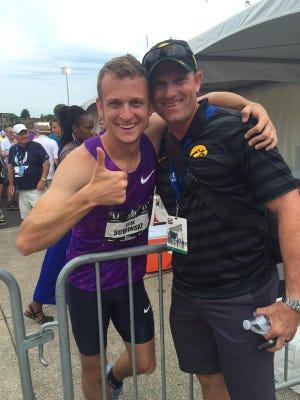 Erik Sowinski and coach Joey Woody.