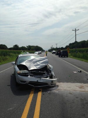 The driver of this car was flown by state police helicopter to Christiana Hospital after police say he ran into the back of a stopped SUV on Seashore Highway between Bridgeville and Georgetown, injuring himself and three occupants of the SUV, which flipped end over end.