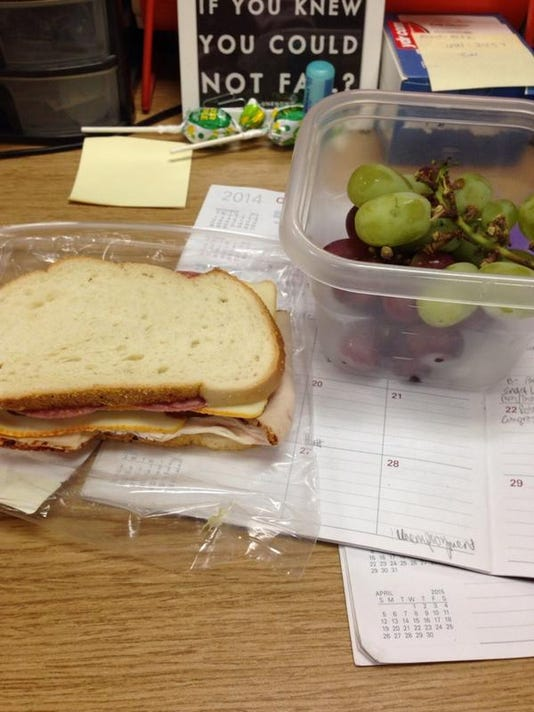 Day metro editor Kate Harmon showed off this tasty sandwich and grapes.