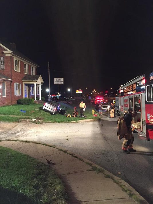 One person has been transported from the scene of a car crash Saturday night near the 1800 block of North George Street, 911 confirmed.