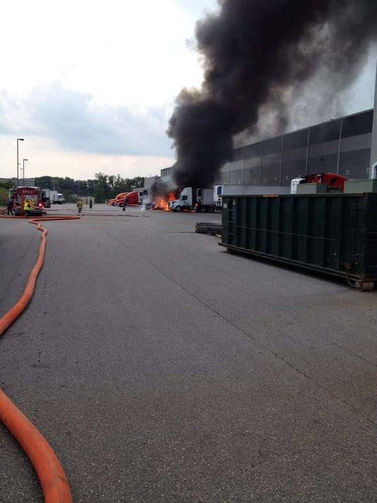 Fire crews responded to Americold in East Manchester Township on Tuesday afternoon where a tractor-trailer caught fire.