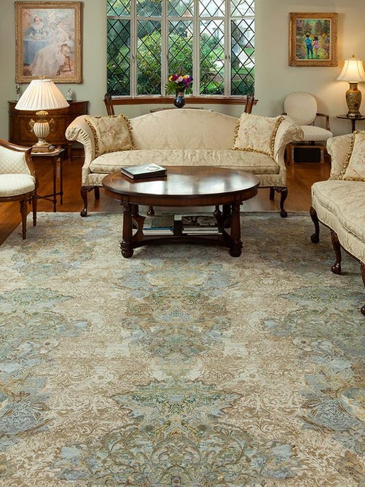 transitional borderless hand-knotted india oriental rug