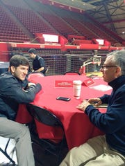 Harry Frezza interviews Rutgers wrestling star Anthony Ashnault Wednesday at the RAC.