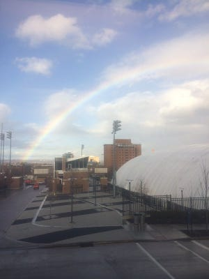 A  rainbow over the Bearcats practice bubble on Monday.