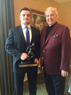 Paintsville High School quarterback/linebacker Kash Daniel was presented the Paul Hornung Award Tuesday.