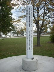 Sheboygan's Peace Pole located at the confluence of Michigan Avenue, Broughton Drive and North Third Street.