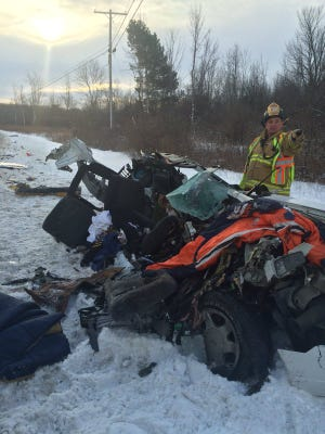 Emergency crews are on scene Feb. 15, 2016 at a crash on Route 31 in Sweden.