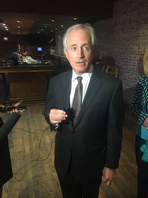 U.S. Sen. Bob Corker discusses President Barack Obama's Cuba visit on Monday.