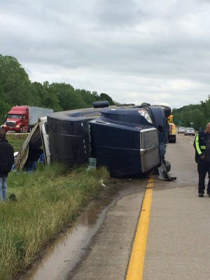 A beer truck turned over in the median on I-20 in Warren County Saturday afternoon.
