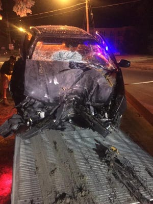 The driver of this car crashed into a tree while playing Pokemon Go in the town of Auburn on July 12, 2016.