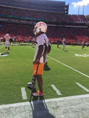 Cam Sutton watches his teammates warm up before playing Georgia on Oct. 1, 2016, at Sanford Stadium in Athens, Ga.