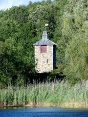 """The stone tower at Buttercup Farm Sanctuary in Stanfordville. Also known as """"Martin's Folly,"""" the tower was built by the previous landowner, Alastair Martin, who donated the land to Audubon New York. A folly is a Scottish word for tower."""