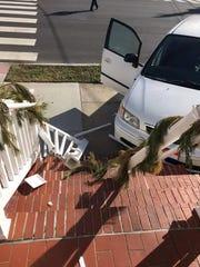 A white Honda Odyssey crashed into Heirloom restaurant