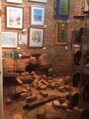 A photo of damage to the Pendleton Square Artist Cooperative after a car hit the gallery early Tuesday morning.